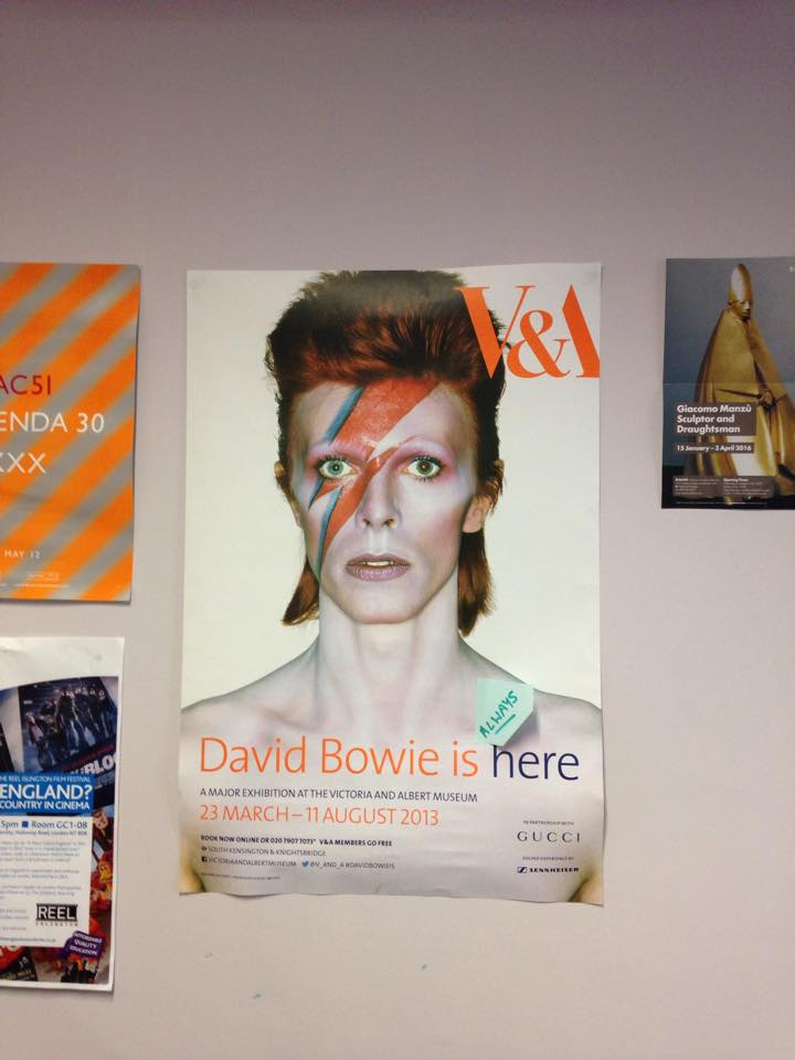 Friday afternoon in my university office. Someone's added something to my Bowie poster behind my desk. Love so much. https://t.co/rmzwVwYuoo
