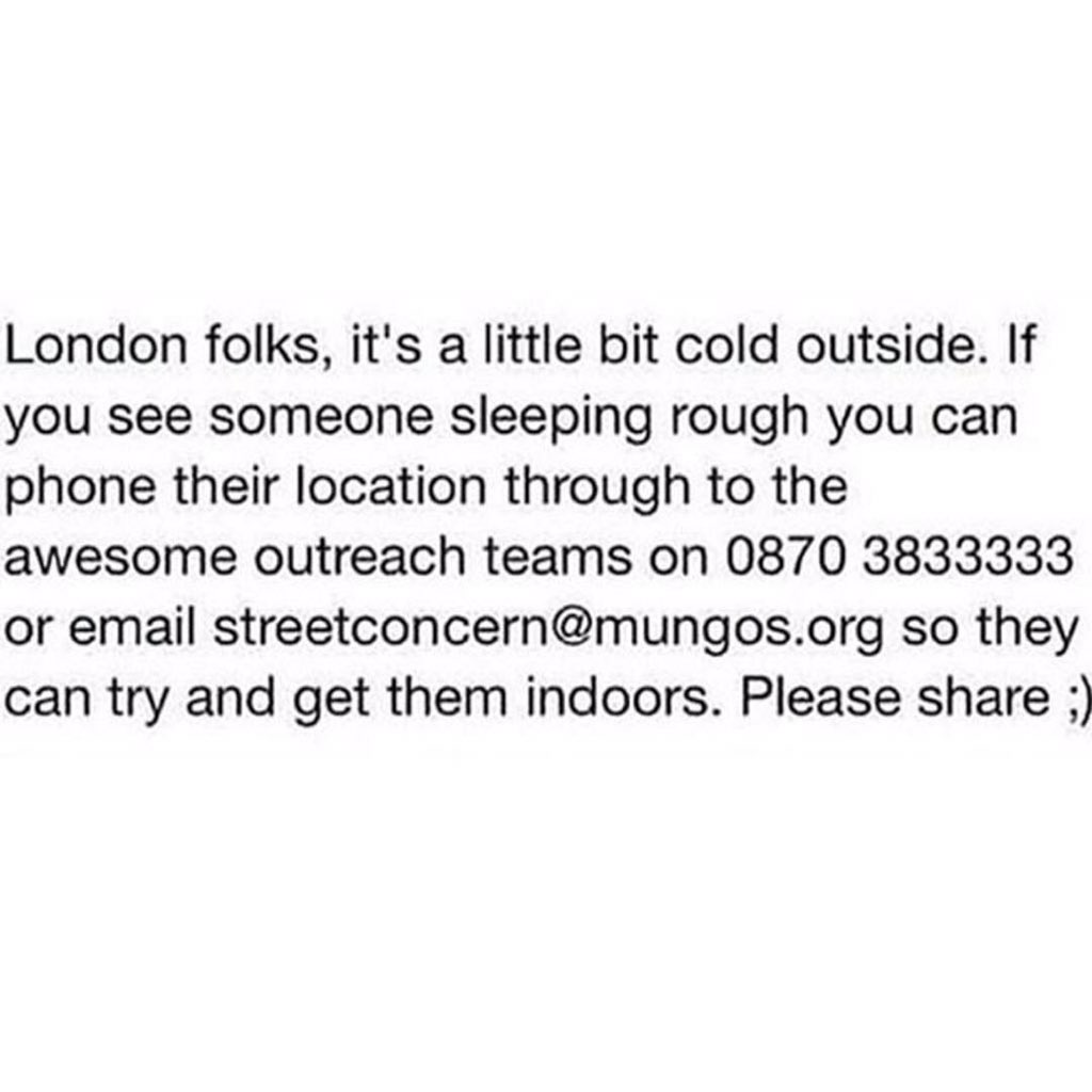 If you see a homeless person #London https://t.co/K5udandage
