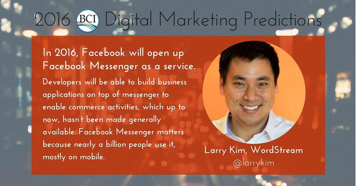 2016 Digital Marketing Prediction: @larrykim foresees FB Messenger ecomm +42 more forecasts https://t.co/zU2smiZsYn https://t.co/E4gz3YmXO9