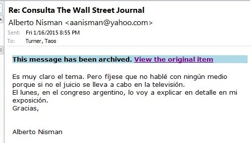 A year ago this Friday, at about this time, I got this email from Alberto Nisman. It was my last contact with him. https://t.co/0Z29usJoZB
