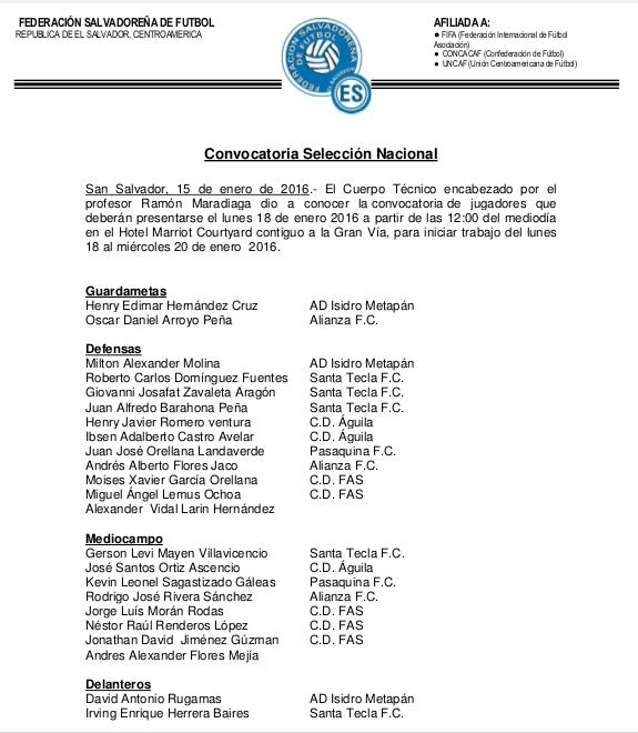 Juegos amistosos contra Panama y Nicaragua en febrero del 2016. CYy4ZmLU0AArM5y