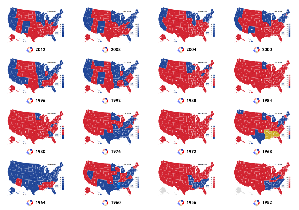 """Joy Reid on Twitter: """"Red and blue states, 1952-2012 ..."""