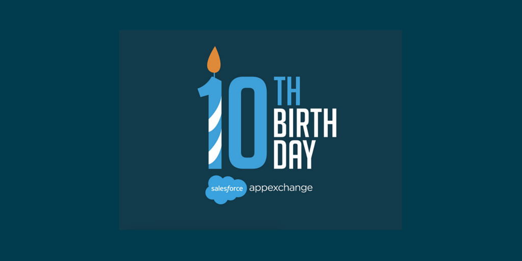 Happy 10th birthday, @appexchange! Here's to many, many more. #AppExchange10 https://t.co/YRQOIV5zDI