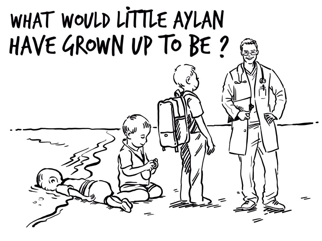 Aylan could've been a doctor, a teacher, a loving parent...   Thanks @osamacartoons for sketching my thoughts https://t.co/M2z4Z3mJe0