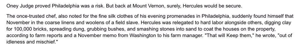 """Mt Vernon records show Washington relegated Hercules to hard labor to keep him """"out of idleness and mischief."""" https://t.co/o6UZljgwmq"""