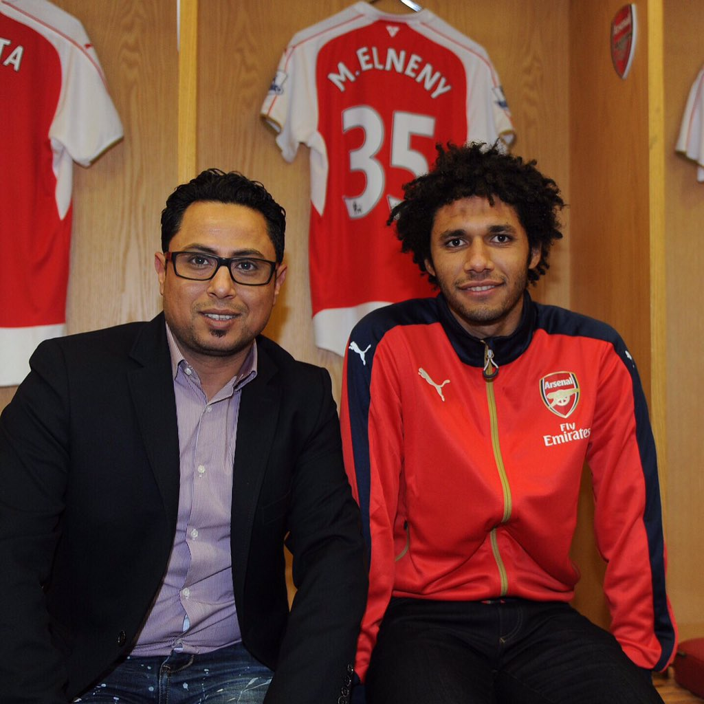 PICTURE: New boy Elneny brings out his 'friend' and agent