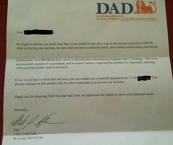 This dad sent a hilarious loan rejection letter to his 6-year-old son https://t.co/BGVlxi2BWA #financialliteracy https://t.co/aKxcr4wcKY
