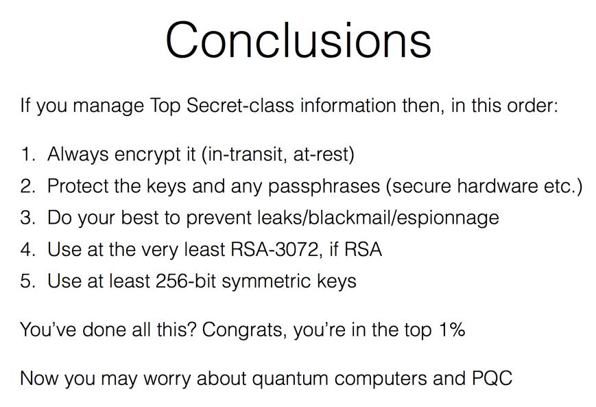 "slides of my #shmoocon talk ""Crypto, Quantum, Post-Quantum""  https://t.co/vmeFLBoehc TL;DR below https://t.co/EphSlQzH9V"