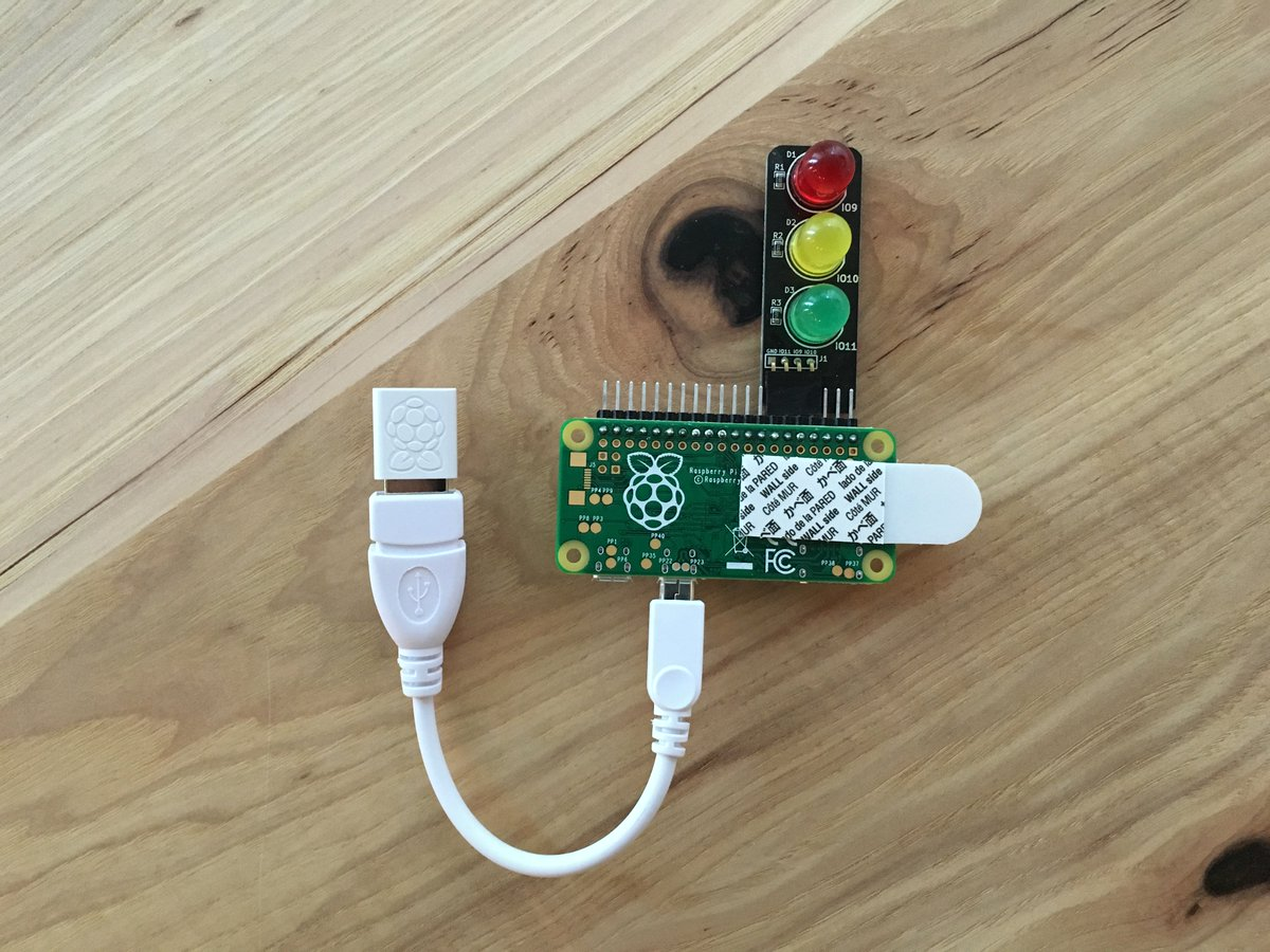 My Slacktivity Monitor! #PiZero, WiFi, @LowVoltageLabs Traffic Light. Quiet=red. Lots of chatter=green. @SlackHQ