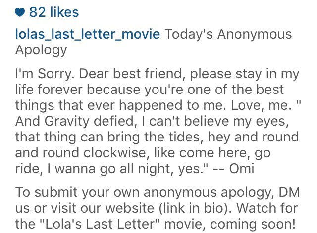 Lolas Last Letter on Twitter Todays Anonymous Apology Dear
