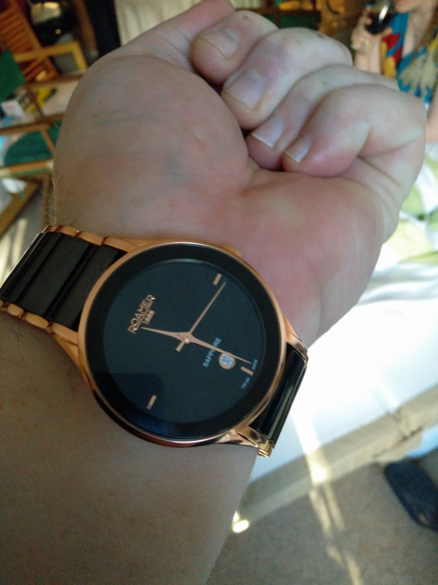 my gorgeous new watch showing the time