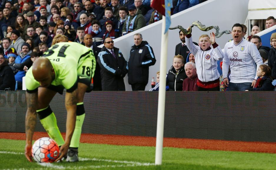 Aston Villa fans troll Manchester Citys Fabian Delph with toy snakes