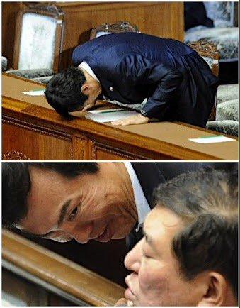 よく撮れてるのだ!RT @yuimonkoji: 石原伸晃は、福島被災者に対する金目(金目当て)発言による謝罪登壇後の写真をスッパ抜かれ、その政治生命を断たれたはずではなかったか.... https://t.co/5IIMPIBOso
