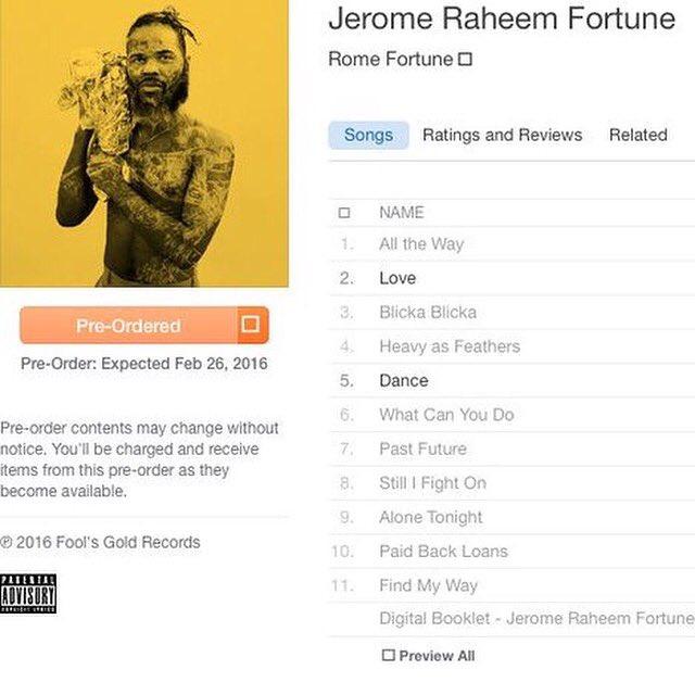 ayeeeeeeeeeee. U can pre-order @romefortune's debut album right now. Been waiting 2.5 years to say that