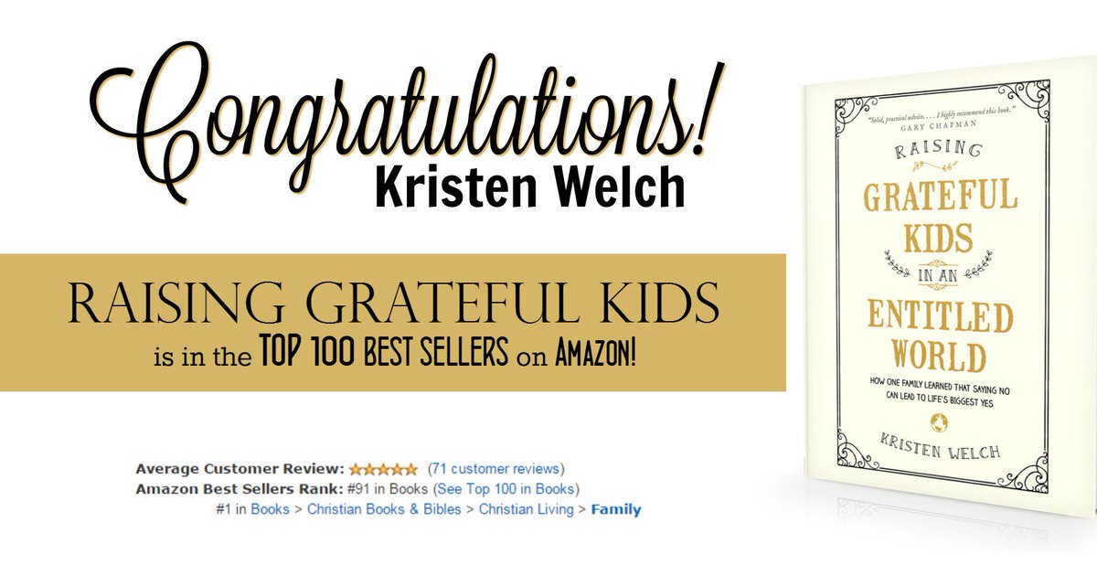 Congrats Kristen @WeareTHATfamily #RaisingGratefulKids is a now a #BestSeller #parenting https://t.co/VCjs1pR8bF https://t.co/bMatU36WtY