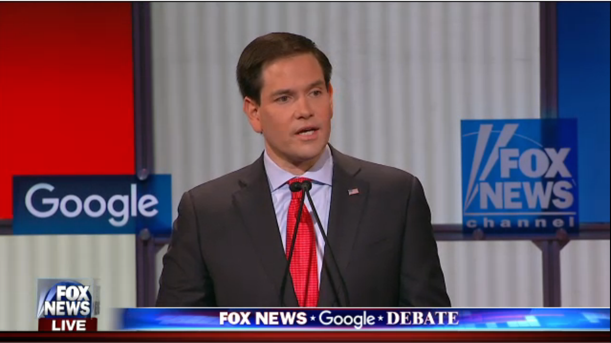 """Rubio: """"One of Hillary's first acts as president may be to pardon herself"""" https://t.co/QlY7Zh3VwV #GOPdebate https://t.co/rIAdRrWBzb"""