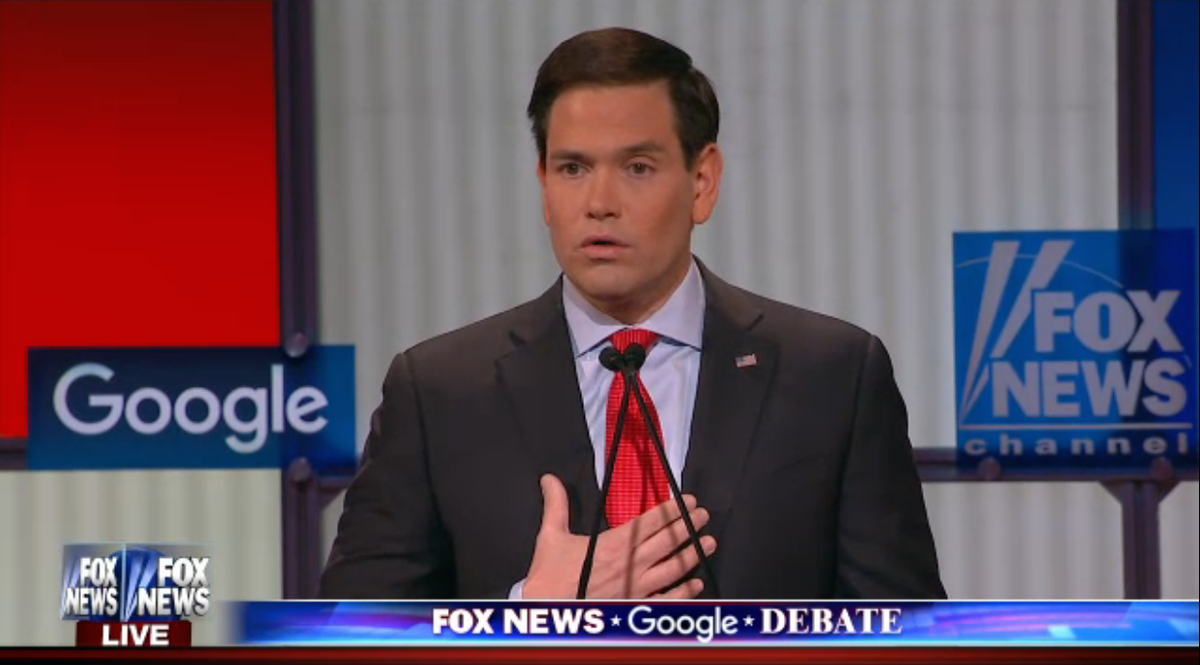 """Rubio: """"On my first day in office we are canceling the deal with Iran"""" https://t.co/SLEoCe3aSG #GOPdebate https://t.co/iJBPtX37Lr"""