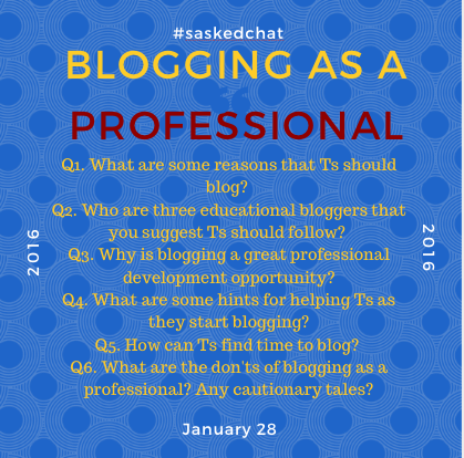 We're one hour from #saskedchat. Have you found an article about Teachers blogging to share? Our topic is Blogging! https://t.co/uVI1UfHheM