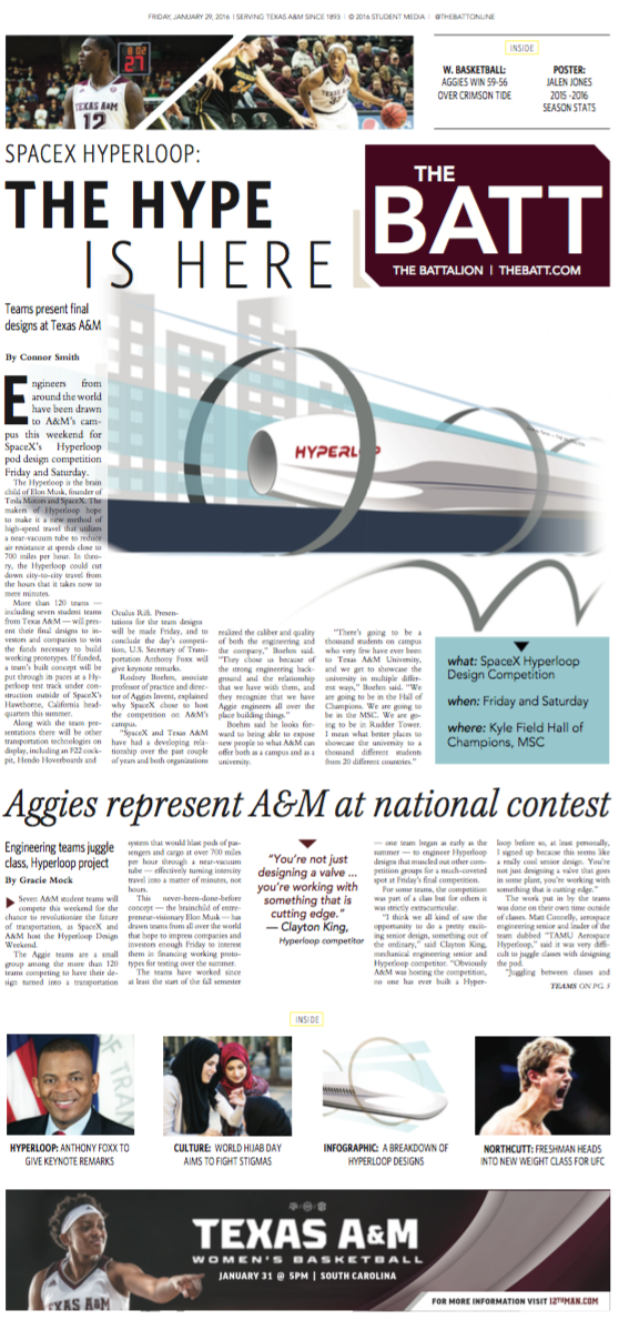 Friday's page 1 — hyperloop hype takes over Texas A&M #breakapod https://t.co/BCYMnY6qrS