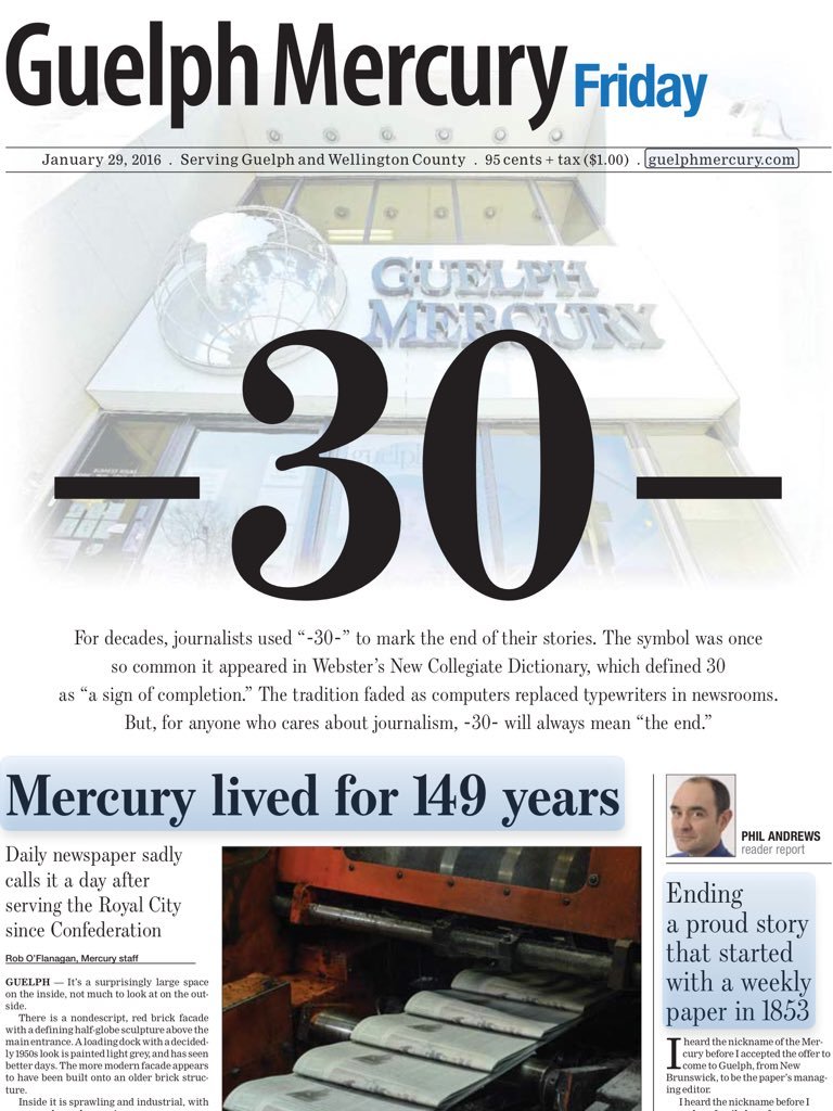 -30- The final @guelphmercury front page. #cdnmedia #newspapers https://t.co/sEKPH8TBdD