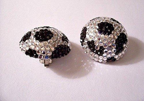 Black Spotted Crystal Disco Ball Clip On Earrings Sil…  #PrettyVintiqueJewels #BelliniJewelry
