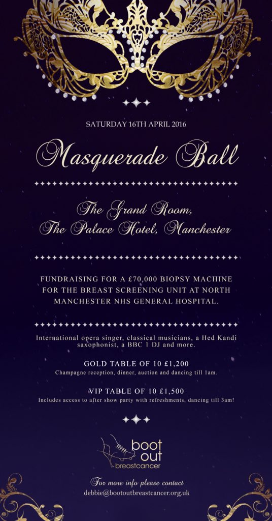 RT @BootOutBC: Masquerade Ball - fundraising for breast screening units in North Manchester and Burnley General NHS hospitals. https://t.co…