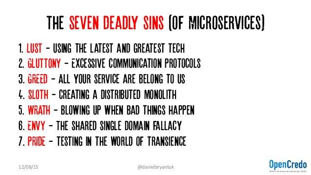 The 7 deadly sins of #microservices by @danielbryantuk  https://t.co/qaKiQ6XFMy https://t.co/ppqUYzViNQ