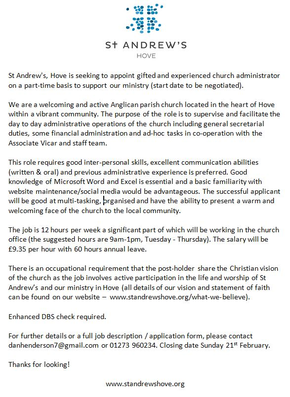 st andrews hove - Church Administrator Salary