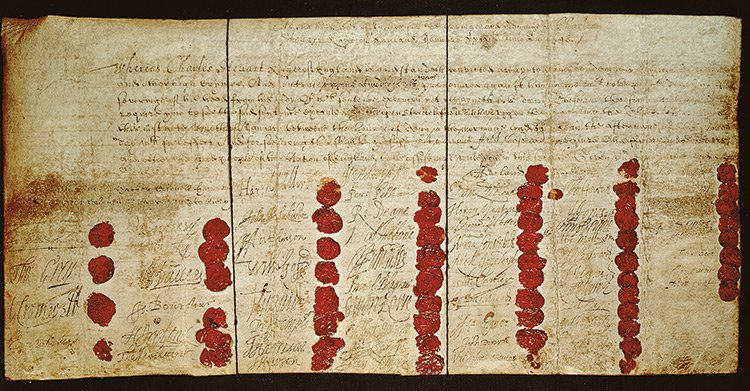 Charles I's death warrant. The king was executed on January 30th, 1649. https://t.co/JAzPUFFhut https://t.co/9zcvzzA6GL