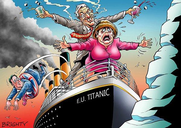 Image result for merkel eu titanic cartoon