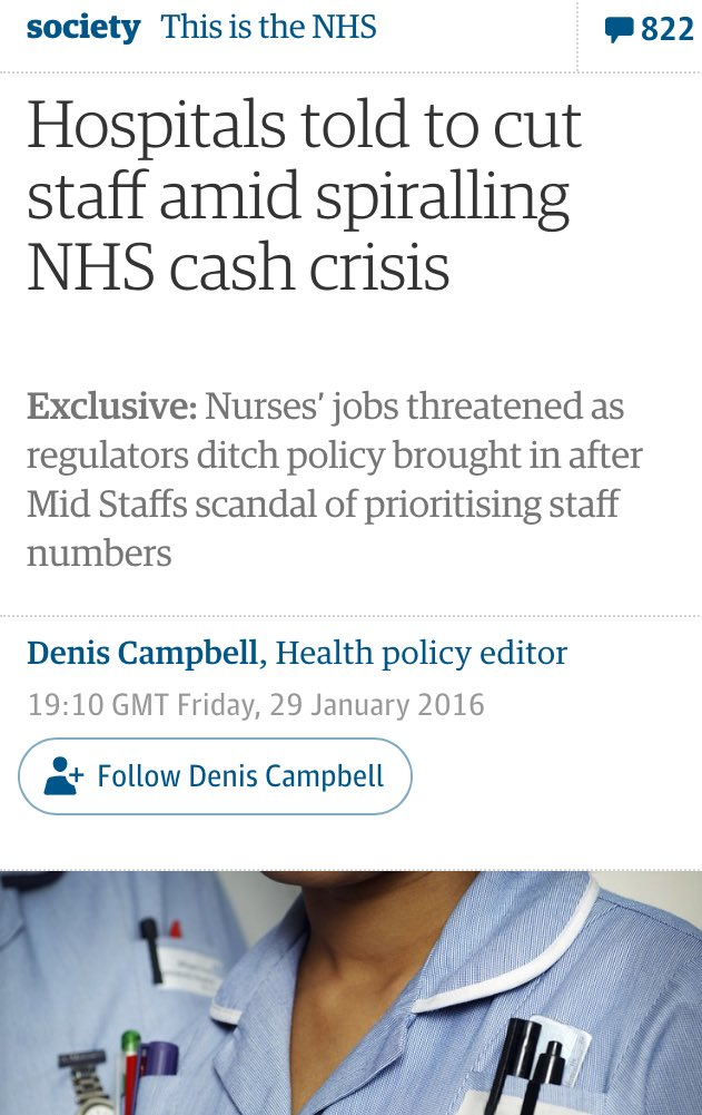 """""""To avoid another Mid Staffs we must increase staffing levels which is why we're now cutting staffing levels"""" https://t.co/3RXO6g5AgE"""