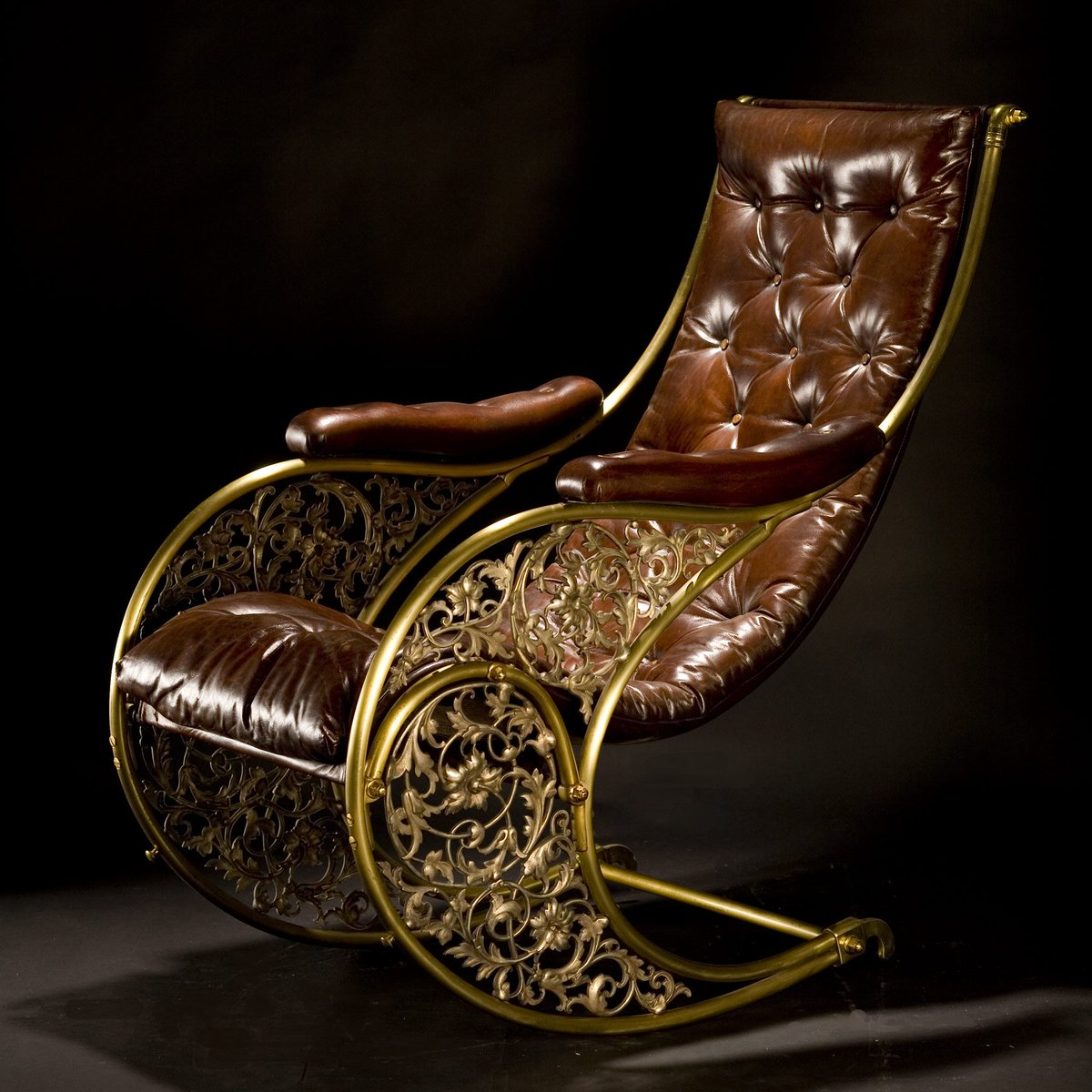 #Steampunk Awesome of the Day: Gold brass and leather R.W Winfield Rocking #Chair  via @Steampunk_T #SamaCuriosities