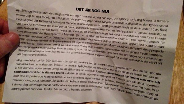 "Message handed out by the masked men in Sweden before the street attacks. ""It's enough now"". Asking others to join. https://t.co/NzxWQgid9Z"