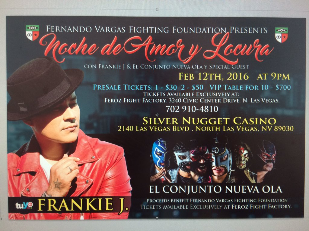 Las Vegas get ready @therealfrankieJ and @ECNOmusica and @_FernandoVargas 02/12 at Silver Nugget Casino https://t.co/Hc1hxX5Pp0