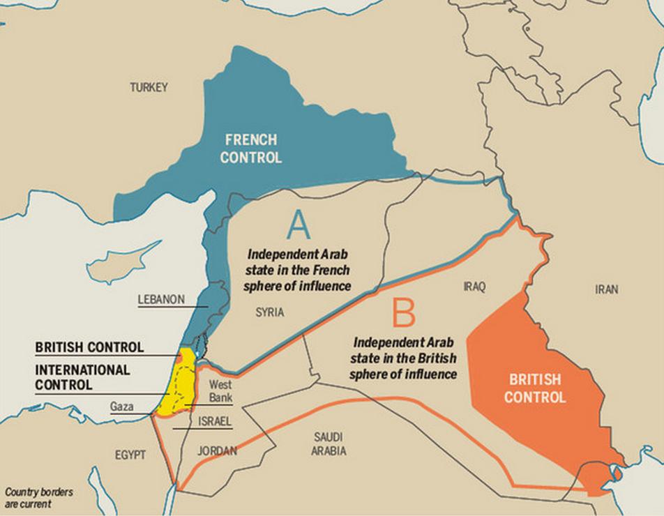 #DailyMap 30/01  Li dove tutto è iniziato. Com'era il Medioriente dopo gli accordi di Sykes-Picot nel 1916 https://t.co/Wsj2LVSuAG