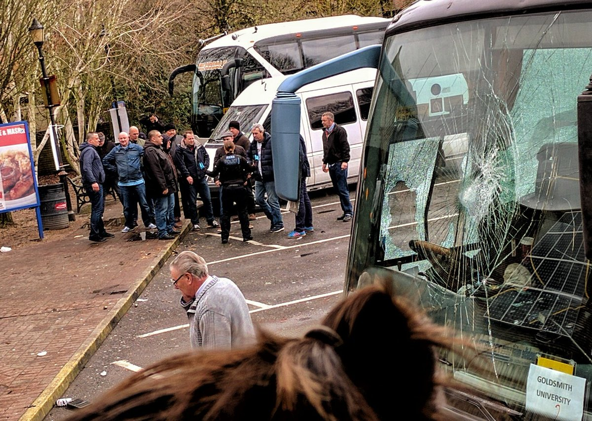 altercation at Maidstone service station. coachload of Nazis turned up and smashed up one of our coaches. #Dover https://t.co/Ilm3scZLZB