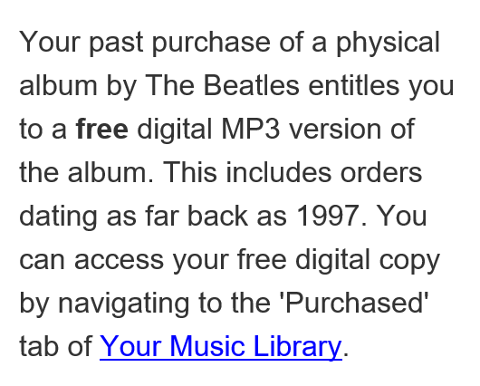 WOW!  Thank you @AmazonUK = Free digital versions of #TheBeatles can only be a good thing! https://t.co/s8opGLnSkv