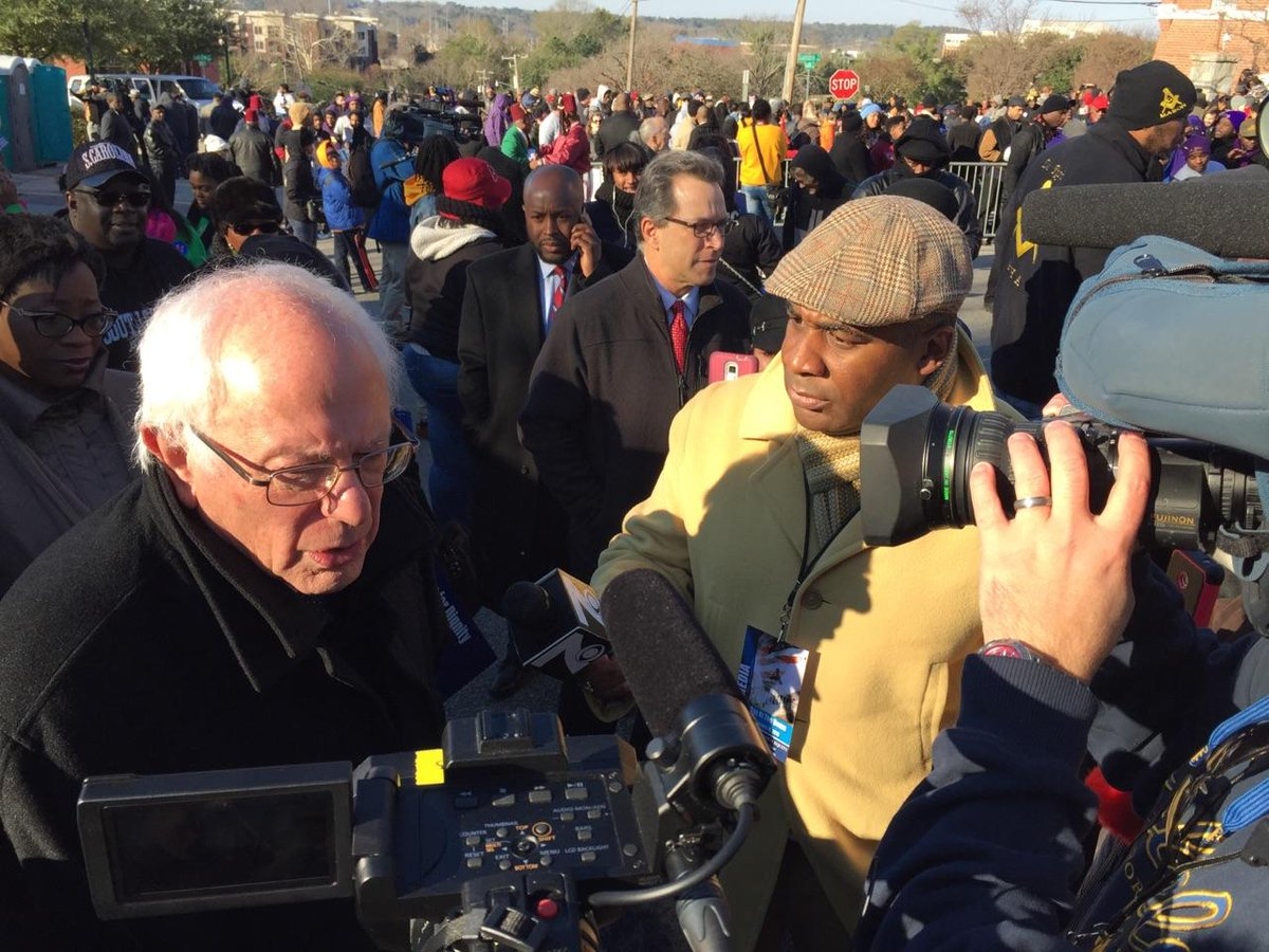 Just scored an interview with @BernieSanders at the #MLKDay parade in Columbia South Carolina. https://t.co/N6siBwhQIM