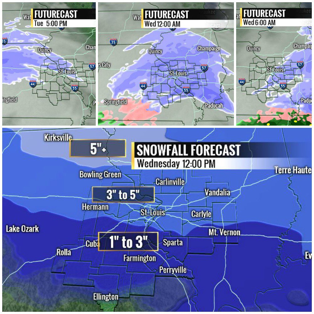Deep cold Monday. Accumulating snow Tuesday into Wednesday. Widespread snow between 10pm Tues and 6am Wed. #stlwx https://t.co/KXEZmr9NMu