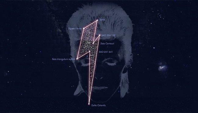La costellazione di 7 Stelle di David Bowie a forma di fulmine