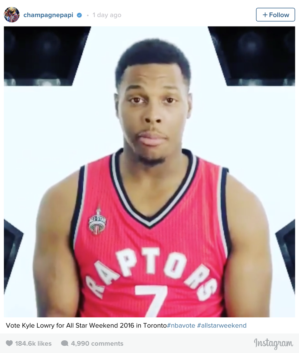 Show Your Support, @Drake Did. #NBAVote #KyleLowry https://t.co/kIXLUuvBAQ