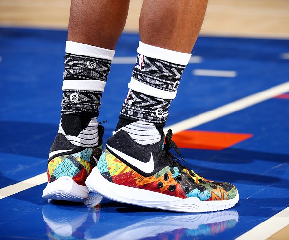 466bbfba20d13 ishsmith rocking a crazy colorway of the nike zoom hyperquickness 2015 for  mlk day (and the  stancehoops socks!)