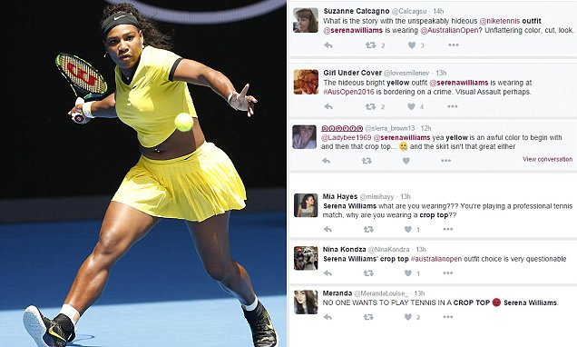 bdb32ed45394 Serena williams is under fire over the neon yellow crop top she wore at the  australian open