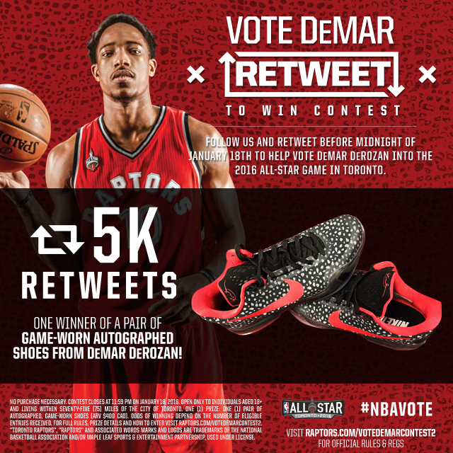 8e74f844ea6 If we get 5k RT's for DeMar DeRozan, we'll give away a SIGNED pair of his GAME  WORN shoes. #NBAVote https://t.co/9W3FT3MMsT
