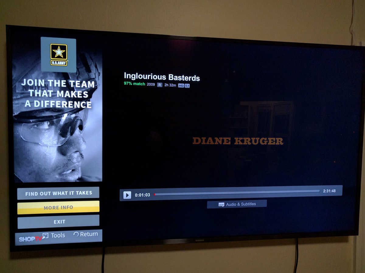 This is my Samsung SmartTV with a US Army pop-up ad on top of Inglorious Basterds streamed from Netflix on my FireTV https://t.co/wuONS4VUfg