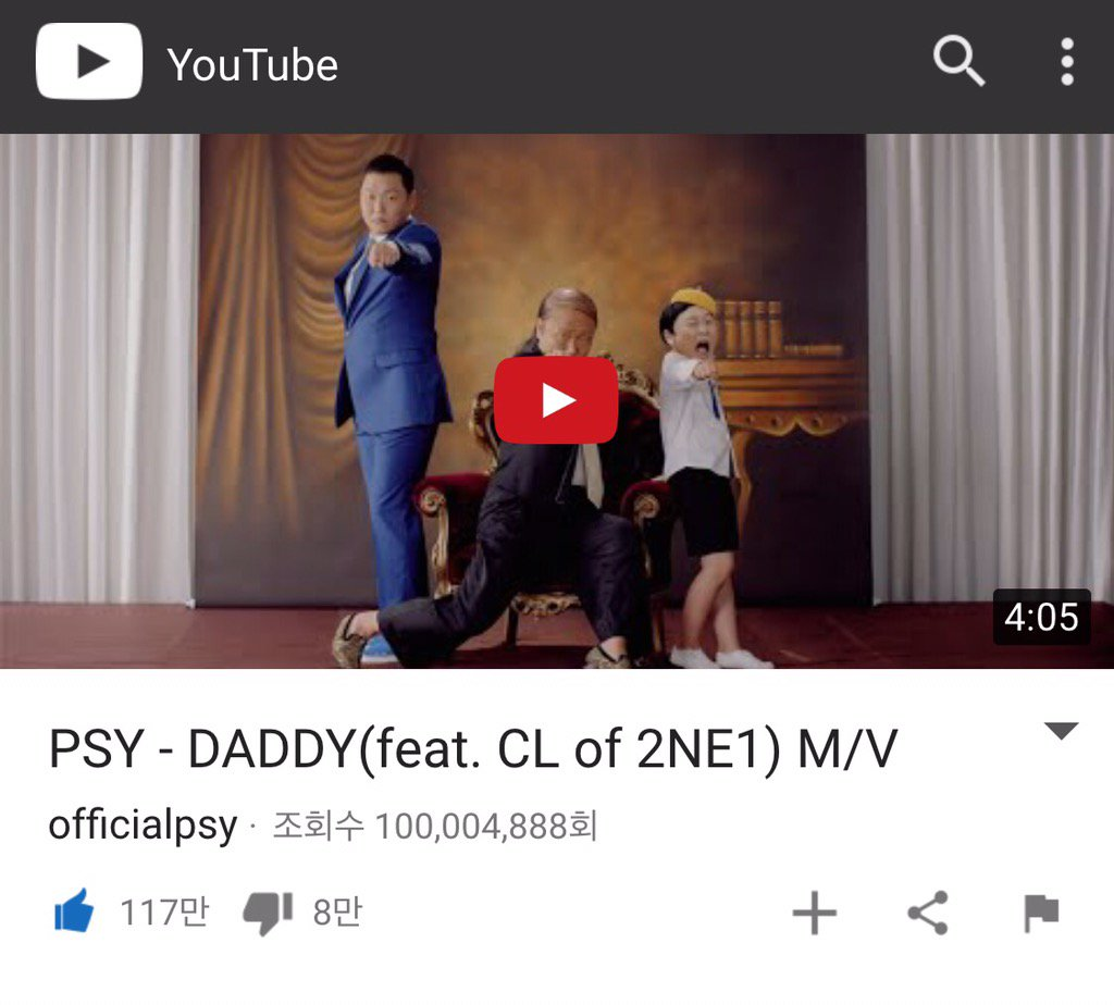 Psy hits 100 million views for the fourth time
