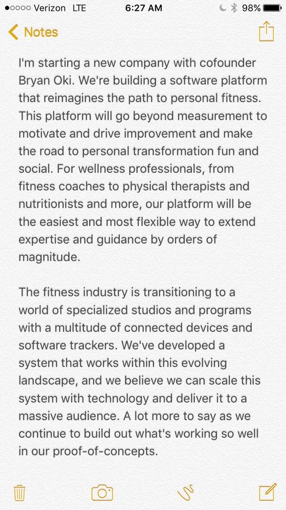L'ex CEO di Twitter, Dick Costolo, in questo tweet di inizio 2016 annuncia l'avvio di una una nuova piattaforma in grado di connettere praticanti e professionisti del fitness per scambiarsi esperiense e suggerimenti.