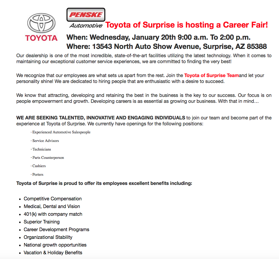 Toyota Of Surprise >> Toyota Of Surprise On Twitter We Re Looking For Talented