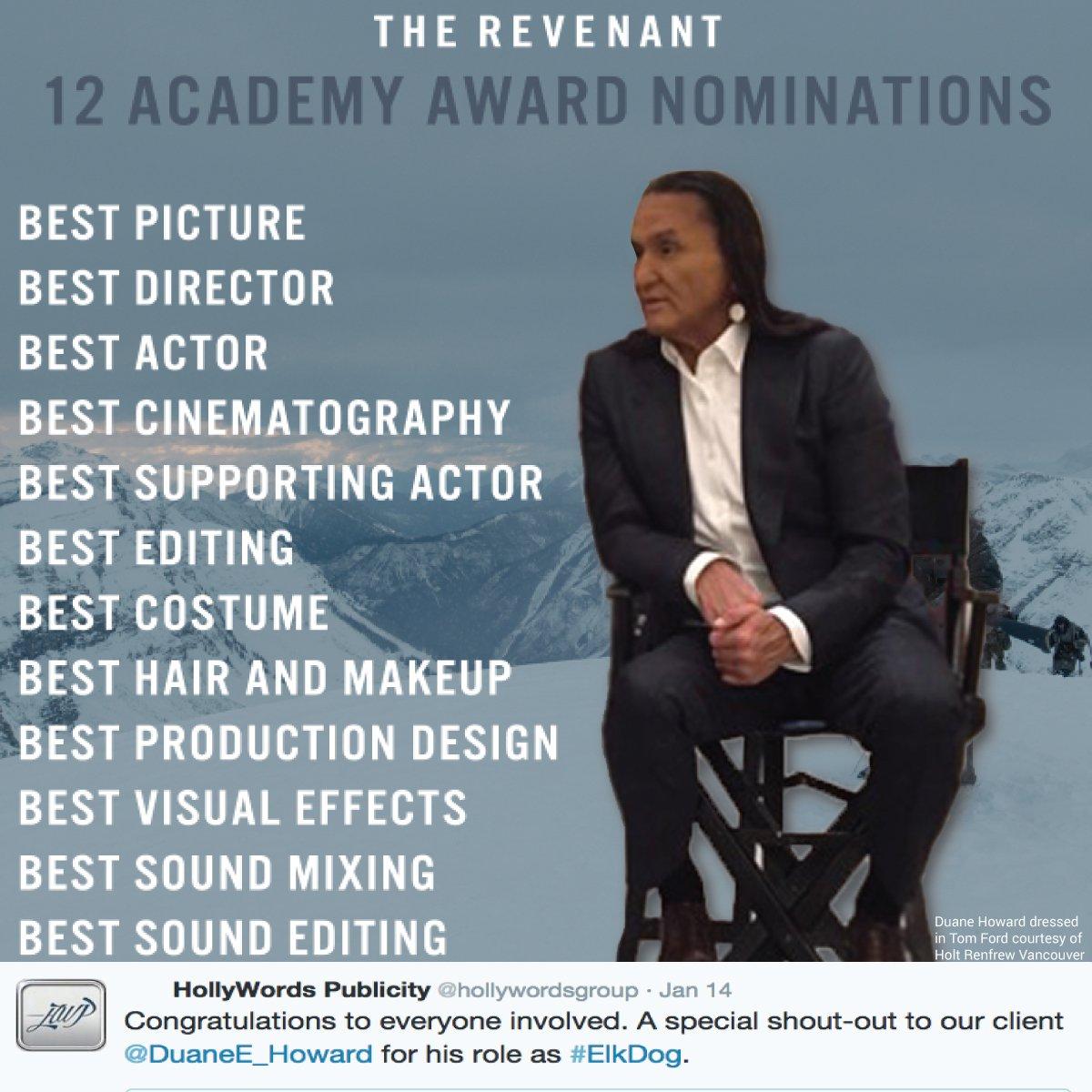 HWP shout-out to client @DuaneE_Howard for his important role in @RevenantMovie's GG wins & 12 Oscar noms. Bravo! https://t.co/kznMjU7qW0