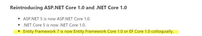 EF7 is now EF Core 1.0 https://t.co/bboVrogVoQ
